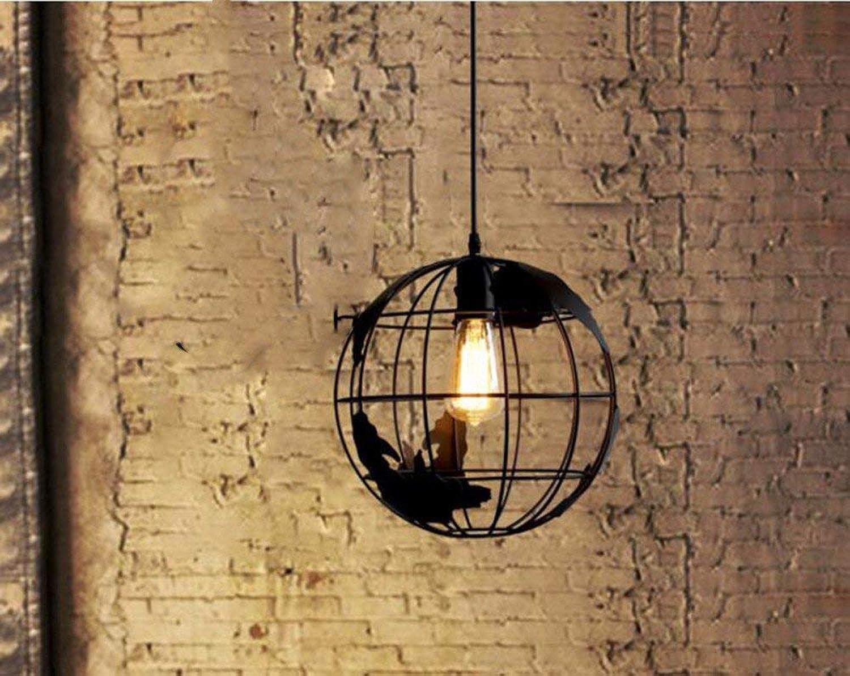 ZHANG NAN ●  Pendelleuchte Kronleuchter Restaurant Licht Bar Globe Eisen Kunst Schwarzer Kopf 28  28Cm ●