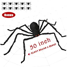SUNBA YOUTH Halloween Spider,Fake Large Hairy Spider Halloween Decoration with Scary LED Red Eyes and Spooky Sound, Quake Spider Props for Outdoor Yard Decor