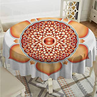 ScottDecor Microfiber Round Tablecloth Lotus Chakra Pomegranate Tibetan Renewal of Life Universe Symbol Balance Orange Vermilion Jacquard Tablecloth Diameter 36