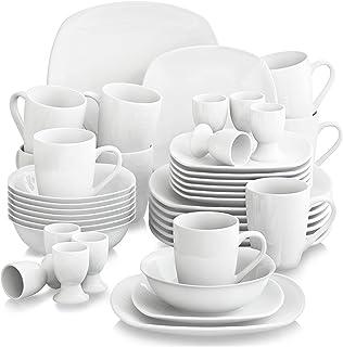 MALACASA, Série Elisa, 40 Pcs Service de Table Porcelaine, 8 * [Assiettes Plates], [Assiettes à Dessert], [Bol à Céréale...
