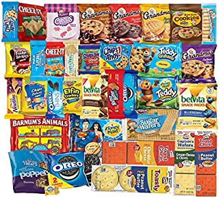 LUV Box - America's favorite cookies Variety Assortment of Cookies, Crackers including Grandma's Cookies, Oreos, Chips Ahoy, Mini Rainbow, Fudge Stripes, Cheez-It, Scooby-Doo, Elfin & More Pack of 40