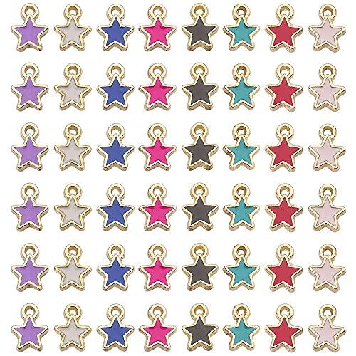 Chytaii - Set di 48 ciondoli a forma di stella a cinque punte per gioielli fai da te, orecchini, braccialetti e collane, regalo per ragazze