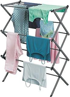 mDesign sèche-linge extensible – séchoir à linge peu encombrant en métal à 3 étages – étendoir à linge intérieur et extéri...