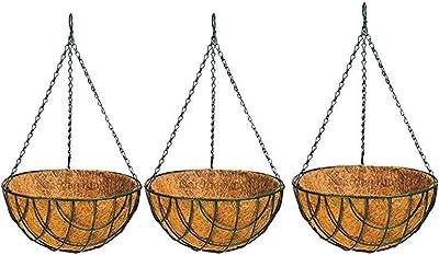 FARMSTOOL® Coir Garden Hanging Flower Basket Pots 8INCH 3 Pieces Metal Chain for Balcony Gardening Plants Indoor Outdoor