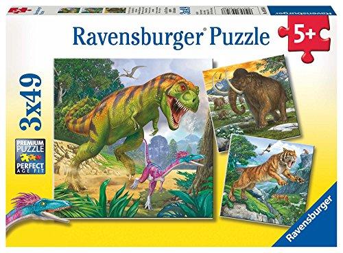 Ravensburger Kinderpuzzle 09358 - Herrscher der Urzeit - 3 x 49 Teile