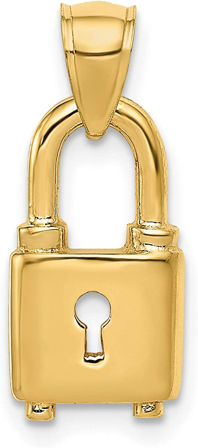 14k Yellow Gold Polished Padlock mm Max 58% OFF 8 discount 14 x Pendant
