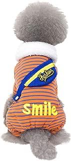 Dog Cat Stripe Four-Legged Fleece Jumpsuit Dog Pajamas Pet Coats Soft Winter Warm Pjs Apparel Clothing