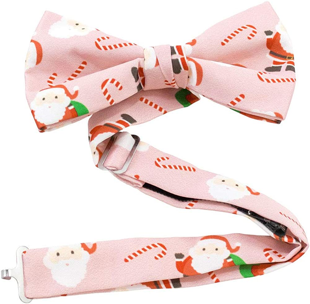 Jacob Alexander Men's Merry Christmas Santa Claus Candy Canes Adjustable Pre-Tied Banded Bow Tie - Pink