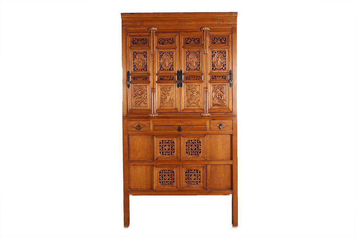 Yajutang - Armario para 4 puertas correderas, diseño antiguo, color marrón: Amazon.es: Juguetes y juegos