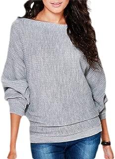 Women Boat Neck Knit Jumper Loose Fit Lightweight Pullover Sweater