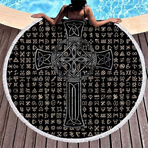 SUN DANCE Reisehandtuch Kreuzknoten Tattoo Druck Krawatte Farbstoff Runde Strandtuch Mit Quasten Indian Round Fringe Beach Throw Wandbehang