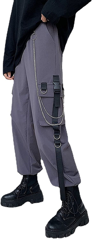 MEINVQIAOTI Black Cargo Pants for Women Techwear Women Loose Street Rock Style Casual Black Pants with Chain Goth Pants