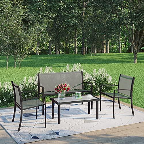 Joolihome Garden Furniture 4 Seater, Rectangular Glass Coffee Table 2 Textilene Armchairs 1 Double Seat Sofa, 3 + 1 Piece Indoor Outdoor Dining Set for Patio, Lounge, Balcony, Terrace (Grey)