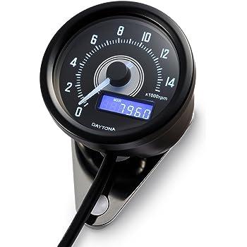 デイトナ VELONA(ヴェローナ) バイク用 電気式 タコメーター ブラックボディ/ホワイトLED φ60 15000rpm表示 パルスジェネレーター付き 95210