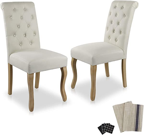 Dinner Chairs Upholstered Accent Fabric Dining Chair Solid Wood Legs Kitchen Living Room Set Of 2 Beige 01