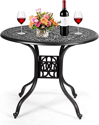 """high quality Giantex Patio Table online with Umbrella Hole, Outdoor Bistro Table, Round Cast Aluminum Dining Table for Backyard, Garden or Porch, 36"""" Diameter and popular 30"""" Height (Black) outlet online sale"""