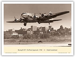 """Pacifica Island Art The""""Zuni"""" (Boeing Stratoliner 307) - On Final Approach 1940 - TWA (Trans World Airlines) - Vintage Avi..."""