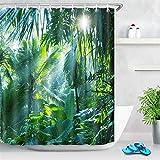 LB Duschvorhang Dschungel 180x200CM Grün Badevorhang mit 12 Haken,Tropischer Wald Wasserdicht Antischimmel Polyester Badezimmer Gardinen