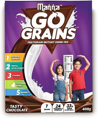 Manna Go Grains Multigrain Instant Drink Mix 400G Pack Chocolate Flavour