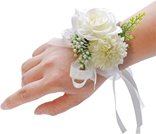 Pink Wedding Bridal Wrist Corsage Prom Wrist Flower Corsage Flowers for Wedding Party,Graduation Party (White, 1 pc)