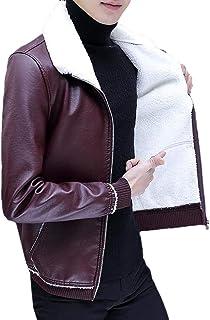 CRYYU Men Faux Leather Moto Biker Slim Fit Zip Up Thicken Jacket with Fleece Lined
