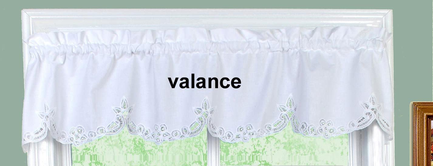Amazon Com Creative Linens Battenburg Lace Kitchen Curtain Valance White Dining