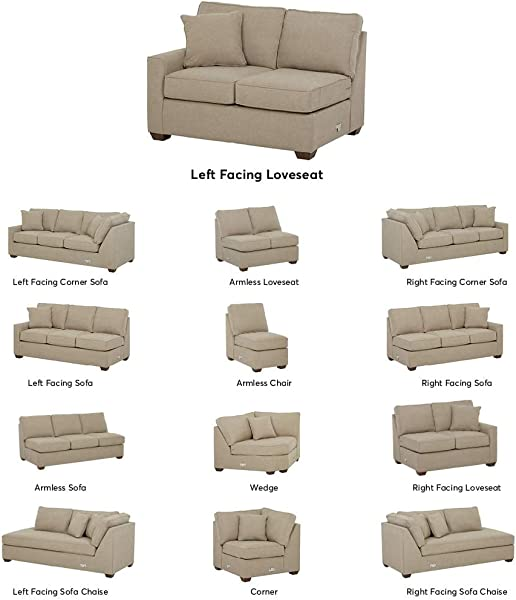 Stone Beam Bagley Sectional Component Left Facing Loveseat Fabric 52 W Dove