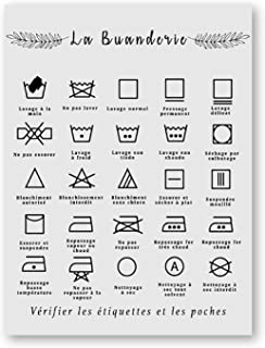 Affiche noir et blanc symbole de blanchisserie signe imprime Affiche Art mural photo toile peinture pour buanderie décor 3...