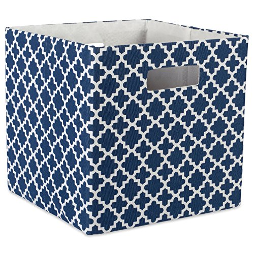 DII Hard Sided Collapsible Fabric Storage Container for Nursery, Offices, & Home Organization, (13x13x13) - Lattice Nautical Blue