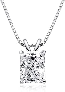 AINUOSHI Gold Plated Sterling Silver Cubic Zirconia Radiant Cut Solitaire Cz Pendant Necklace, 18""