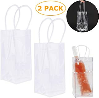 2 Pack Wine Ice Bag, Durable Clear PVC Champagne Pouch Cooler Bag with Handle(Transparent)