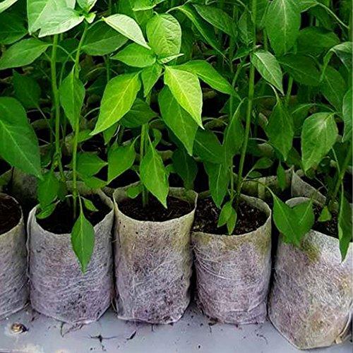 JPSOR 200Pcs Biodegradable Non-Woven Nursery Bags Plant Grow Bags Fabric Seedling Pots