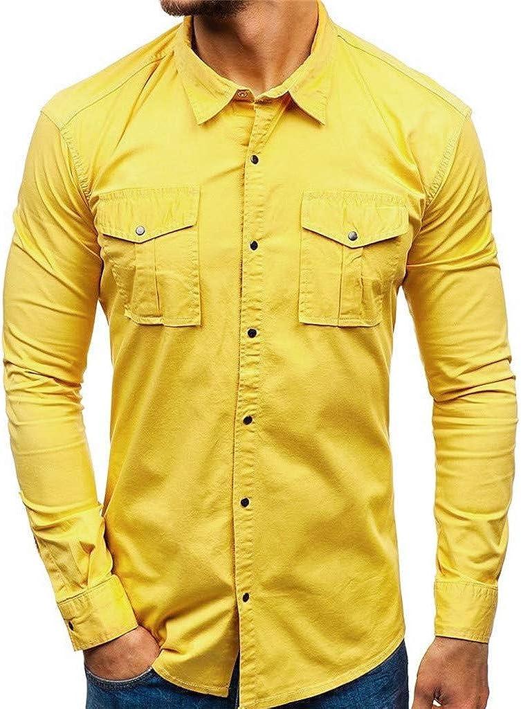 MODOQO Men's Fashion Button Down Shirt Long Sleeve Multi-Pocket Dress Shirts