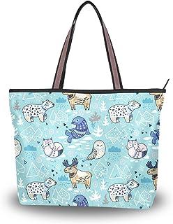 My Daily Damen Schultertasche Eule Bär Fuchs Skandinavischer Stil Handtasche