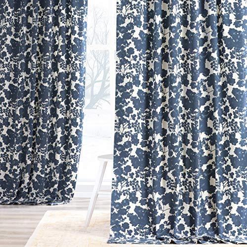HPD Half Price Drapes PRTW-D48-96 Printed Cotton Twill Curtain (1 Panel), 50 X 96, Fleur Blue