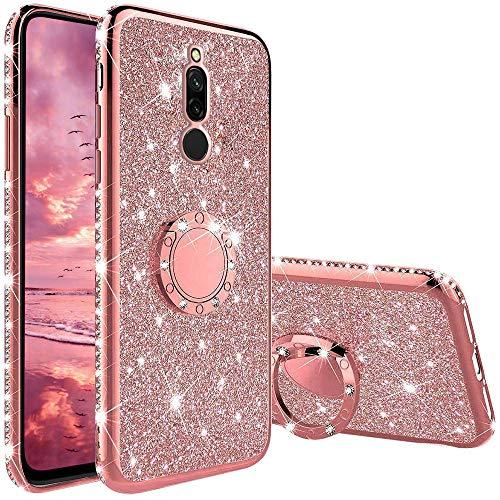 TVVT Glitter Crystal Funda para Xiaomi Redmi 8, Glitter Rhinestone Bling Carcasa Soporte Magnético de 360 Grados Ultrafino Suave Silicona Lujo Brillante Rhinestone - Rosa