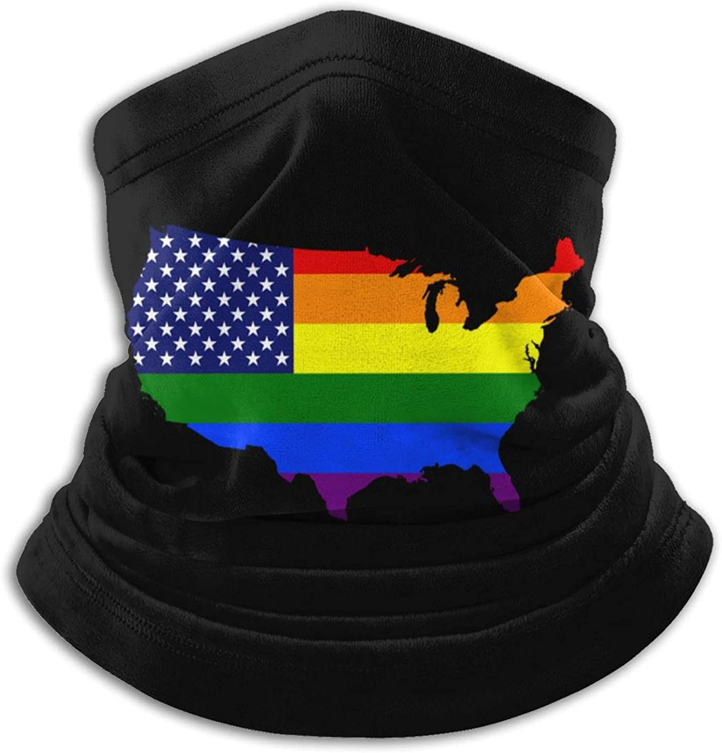Gay lesbian pride lgbt america rainbow flag map unisex winter neck gaiter face cover mask, windproof balaclava scarf for fishing, running & hiking