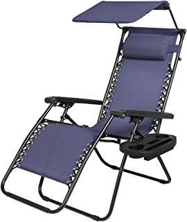 koonlert14 Zero Gravity Chair Outdoor Patio Porch Recliner Seats Comfortable Adjustable Padded Headrests Durable Textilene Fabric Backrest w/Sunshade Canopy & Cup Holder Tray - Navy Blue #1939