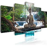 murando - Cuadro en Lienzo Buda 200x100 cm Impresión de 5 Piezas Material Tejido no Tejido Impresión Artística Imagen Gráfica Decoracion de Pared Oriente Zen Cascada c-A-0021-b-n