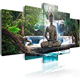 murando Impression sur toile intissee 100x50 cm 5 parties tableau tableaux decoration murale photo image artistique photographie graphique Bouddha paysage naturee cascade arbre Foret Rose Orange c-A-0021-b-n