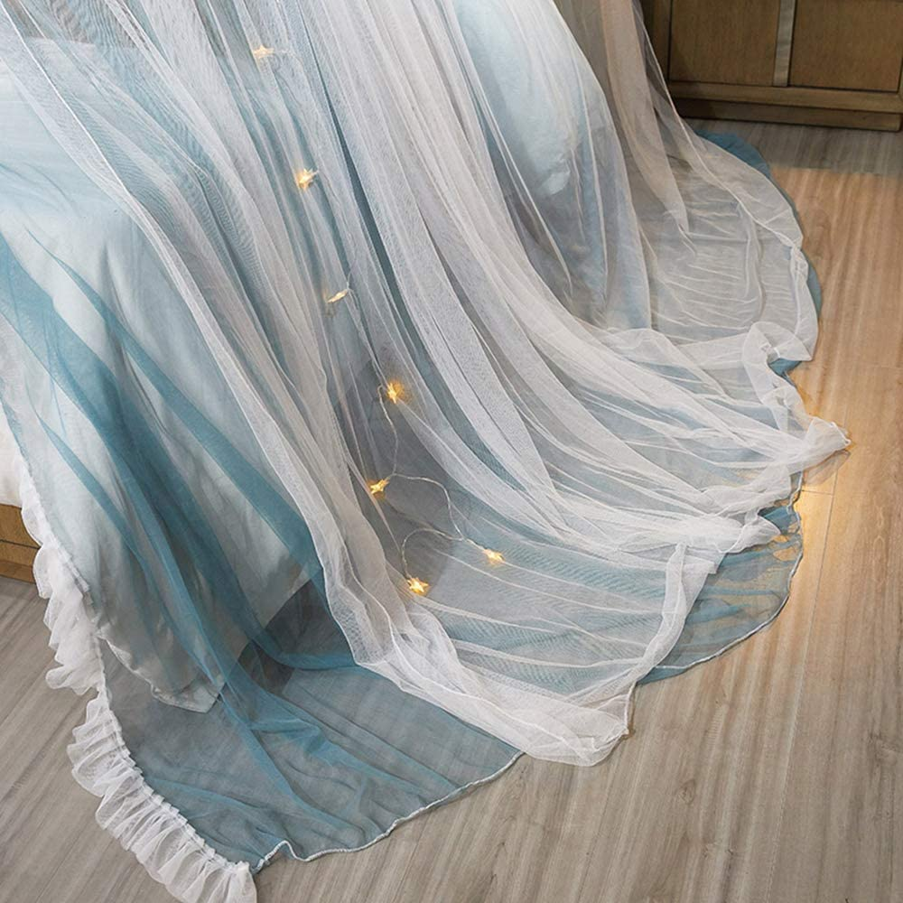 Double Layer Sheer Mesh Dome Bed Curtain Princess Mosquito Net for Twin Full Queen King Bed Mengersi Bed Canopy Curtain Blue