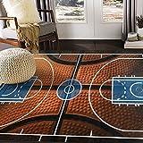 ALAZA Basketball Print Court Sport Area Rug Rugs for Living Room Bedroom 5'3'x4'