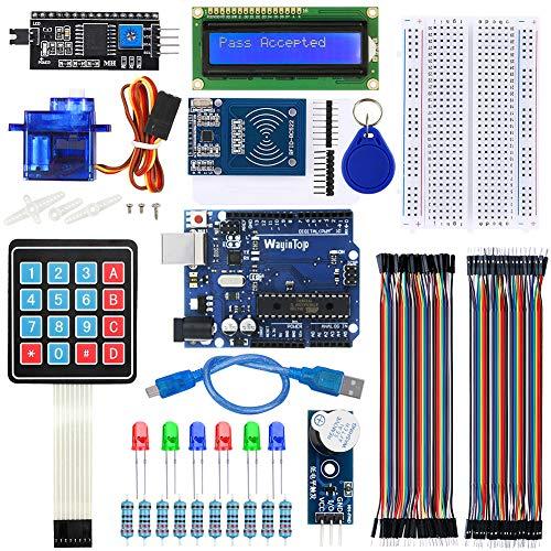 WayinTop RFID Sistema di Controllo Accessi per Porte Kit, Kit RFID RC522 + Scheda Microcontrollore con Cavo USB + Servo + Tastiera + Display LCD + Cicalino per Arduino