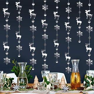 Dsaren 4 Pcs Reindeer Snowflake Garland Metallic Silver Christmas Garland Hanging Decoration Streamer Banner for Xmas Wint...
