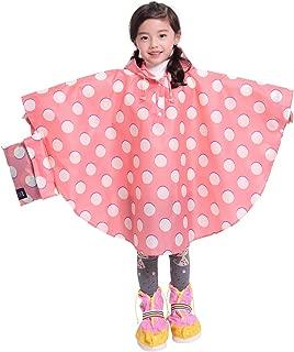 Spmor Kids Lightweight Rain Poncho Hooded Packable Jacket Outdoor Rain Coat