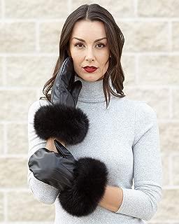 frr Vermont Leather Mittens with Wide Black Fox Fur Cuffs