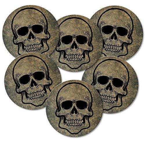 Addies Lot de 6 dessous-de-verre ronds Motif tête de mort dans un coffret cadeau transparent et dos en liège