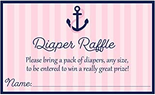 Anchors Aweigh Diaper Raffle Tickets, Baby Shower, Girl Baby Shower, Nautical, Stripes, Sea, Ocean, Anchors, Pink, Navy, Diaper Party, Baby Sprinkle, Raffle Tickets, 24 Pack Printed Diaper Inserts