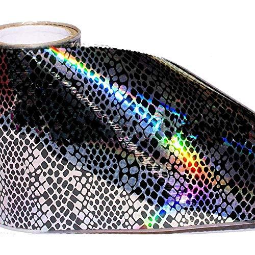 15cm Transferfolie Schlangenhaut schwarz silber Hologramm, Animalprint