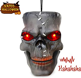 VATOS Halloween Decoration Hanging Skull Head with LED Flashing Eyes & Scary Laughter & Biting Mouth Acoustic Sensor Voice Control Zombie Head| Best Festival Outdoor Indoor Yd Pub Party Decor Favor